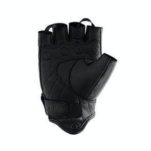 WUPP CS-1046A Motorcycle Racing Cycling Windproof Echt lederen halfvingerhandschoenen  maat:XL(Zwart)