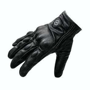 WUPP CS-1047A Motorcycle Racing Cycling Windproof Echt leer volle vingerhandschoenen  maat: L(Zwart)