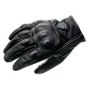 WUPP CS-1048A Motorcycle Racing Cycling Windproof Ademend Echt lederen handschoenen met volledige vinger met gaten  grootte: L (Zwart)