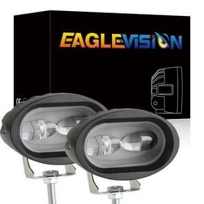 2 PCS DC12-30V / 12W / 6000K Motorcycle Off-road ATV 4 inch LED Oval Lens Spotlight (Wit licht)