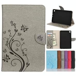 Voor Samsung Galaxy Tab A 8.4 (2020) T307 Butterfly Flower Embossing Pattern Horizontale Flip Lederen case met Holder & Card Slots & Wallet(Grey)