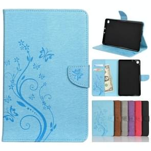 Voor Samsung Galaxy Tab A 8.4 (2020) T307 Butterfly Flower Embossing Pattern Horizontale Flip Lederen case met Holder & Card Slots & Wallet(Blue)