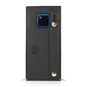 Voor Huawei Mate 20 Pro polsband PU+TPU Schokbestendige beschermhoes met Crossbody Lanyard & Holder & Card Slot(Zwart)