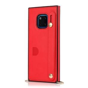 Voor Huawei Mate 20 Pro polsband PU+TPU Schokbestendige beschermhoes met Crossbody Lanyard & Holder & Card Slot(Rood)