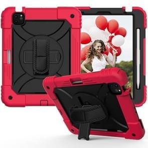 Voor iPad Air (2020) 10.9 Schokbestendige PC + Siliconen combinatiecase met Holder & Handband & Schouderband(Rood + Zwart)