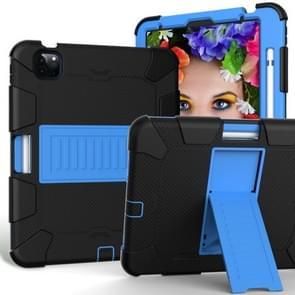 Voor iPad Air (2020) 10.9 Schokbestendige siliconen beschermhoes met houder(Zwart + Blauw)