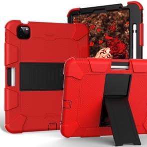 Voor iPad Air (2020) 10.9 Schokbestendige siliconen beschermhoes met houder(rood + zwart)