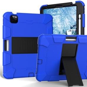 Voor iPad Air (2020) 10.9 Schokbestendige siliconen beschermhoes met houder(blauw + zwart)