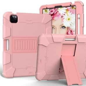Voor iPad Air (2020) 10.9 Schokbestendige siliconen beschermhoes met houder (roségoud + roségoud)