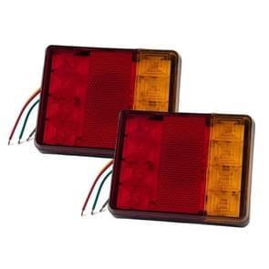 2 PCS Trailer / Truck B-type Square Shape 8LEDs Tail Light met Kentekenlichtset
