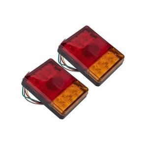 2 PCS Trailer / Truck E-type Square Shape 8LEDs Tail Light Set