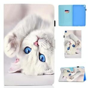Voor Samsung Galaxy Tab A7 (2020) T500 Gekleurd tekenpatroon Horizontaal Flip PU Lederen hoesje met Holder & Card Slots & Anti-skid Strip & Sleep / Wake-up Function(White Cat)