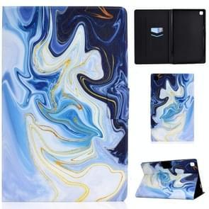 Voor Samsung Galaxy Tab A7 (2020) T500 Colored Drawing Pattern Voltage Horizontal Flip Black TPU + PU Leather Case met Holder & Card Slots & Anti-skid Strip & Sleep / Wake-up Function(Blue Marble)