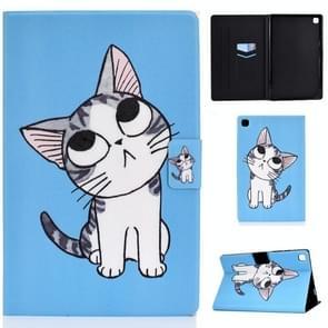 Voor Samsung Galaxy Tab A7 (2020) T500 Colored Drawing Pattern Voltage Horizontal Flip Black TPU + PU Leather Case met Holder & Card Slots & Anti-skid Strip & Sleep / Wake-up Function(Blue Background Cat)