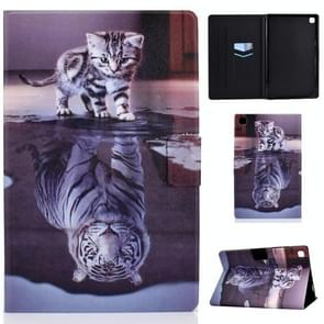 Voor Samsung Galaxy Tab A7 (2020) T500 Colored Drawing Pattern Voltage Horizontal Flip Black TPU + PU Leather Case met Holder & Card Slots & Anti-skid Strip & Sleep / Wake-up Function(Cat and Tiger)