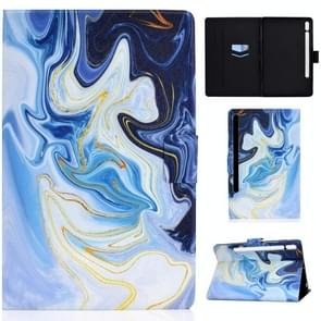 Voor Samsung Galaxy Tab S7 11.0 T870 Colored Drawing Pattern Voltage Horizontal Flip Black TPU + PU Leather Case met Holder & Card Slots & Anti-skid Strip & Sleep / Wake-up Function(Blue Marble)
