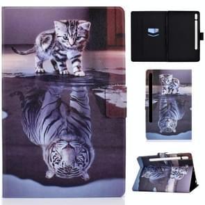 Voor Samsung Galaxy Tab S7 11.0 T870 Colored Drawing Pattern Voltage Horizontal Flip Black TPU + PU Leather Case met Holder & Card Slots & Anti-skid Strip & Sleep / Wake-up Function(Cat and Tiger)