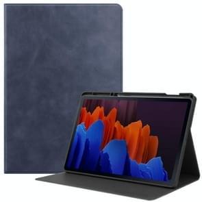 Voor Samsung Galaxy Tab S7+ T970 Cowhide Texture TPU Tablet Horizontale Flip Lederen case met Holder & Sleep / Wake-Up Functie & Pen slot(Blauw)
