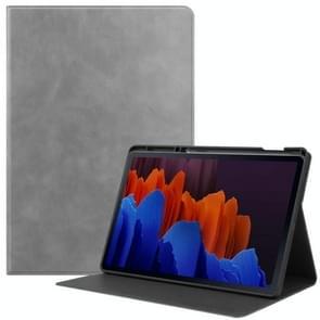 Voor Samsung Galaxy Tab S7+ T970 Cowhide Texture TPU Tablet Horizontale Flip Lederen kast met Holder & Sleep / Wake-Up Functie & Pen Slot(Grijs)
