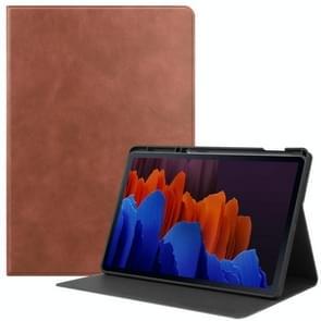 Voor Samsung Galaxy Tab S7+ T970 Cowhide Texture TPU Tablet Horizontale Flip Lederen case met Holder & Sleep / Wake-Up Functie & Pen slot(Bruin)