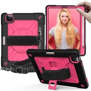 Contrast Color Robot Shockproof Siliconen + PC Beschermhoes met houder voor iPad Air (2020) 10.9 (Zwart rosérood)