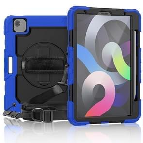 Schokbestendige Kleurrijke Siliconen + PC Beschermhoes met houder & schouderband & handband & pensleuf Voor iPad Air (2020) 10.9 (Blauw)