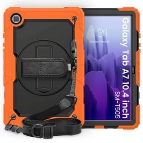 Voor Samsung Galaxy Tab A7 (2020) T500/T505 Schokbestendige Kleurrijke Siliconen + PC Beschermhoes met Holder & Schouderband & Handband & Pen slot(Oranje)
