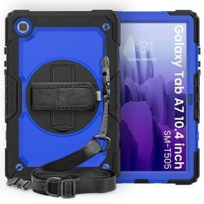 Voor Samsung Galaxy Tab A7 (2020) T500/T505 Schokbestendige Kleurrijke Siliconen + PC Beschermhoes met Holder & Schouderband & Handband & Pen slot (Zwart Blauw)