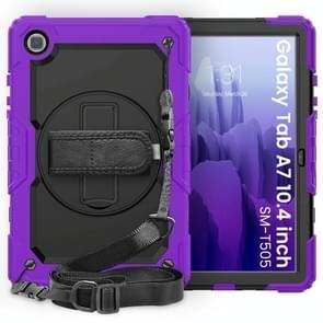 Voor Samsung Galaxy Tab A7 (2020) T500/T505 Schokbestendige Kleurrijke Siliconen + PC Beschermhoes met Holder & Schouderband & Handband & Pen slot(Paars)