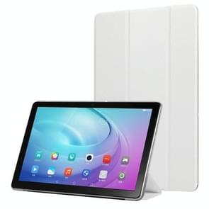 Voor Samsung Galaxy Tab A7 10.4 T500 TPU Zijde textuur drievoudige horizontale flip lederen behuizing met houder (wit)