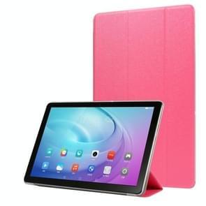 Voor Samsung Galaxy Tab A7 10.4 T500 TPU Zijde textuur drievoudige horizontale flip lederen behuizing met houder (Rose Red)