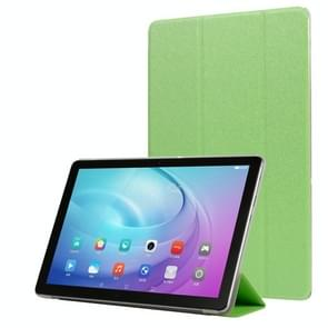 Voor Samsung Galaxy Tab A7 10.4 T500 TPU Zijde textuur drievoudige horizontale flip lederen behuizing met houder (groen)