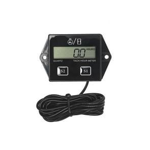 CS-1184A1 DJ-202 Motorfiets motor motor motor waterdicht LCD Digitaal Display Elektronische Toerenteller Uurmeter Timer (Zwart)