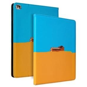 Contrast kleur PU Leder Horizontale Flip Lederen Case met Houder & Slaap / Wake-up Functie Voor iPad Pro 10 5 inch & Air 3(Blauw Geel)