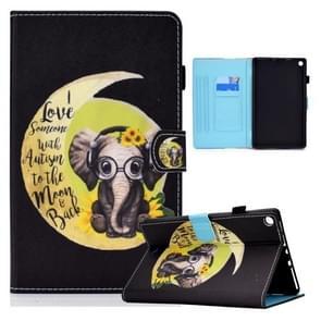 Voor Amazon Kindle Fire HD8 (2016) / (2017) Gekleurde tekening horizontale flip lederen kast met Holder & Card Slots & Sleep / Wake-up Functie(Moon Baby Elephant)