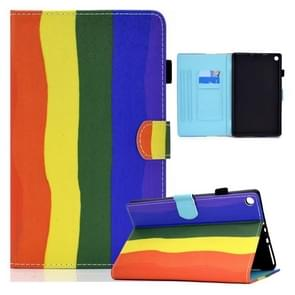 Voor Amazon Kindle Fire HD10 2015 / 2017 / 2019 Gekleurde tekening Horizontale Flip Lederen Case met Holder & Card Slots & Sleep / Wake-up Functie(Rainbow)
