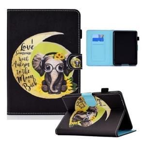 Voor Amazon Kindle Paperwhite 4 / 3 / 2 / 1 Gekleurde tekening Horizontale Flip Lederen Case met Holder & Card Slots & Sleep / Wake-up Function(Moon Baby Elephant)