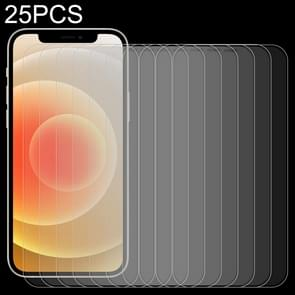 25 PCS Frosted Bright Edge Anti-fingerprint Tempered Glass Film Voor iPhone 12 / 12 Pro