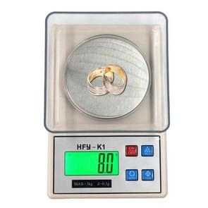 HFY-K1 3000g x 0.1g Professional Portable Digital Gold Jewellery Scale with Back-Lit LCD Display, Tare, PCS