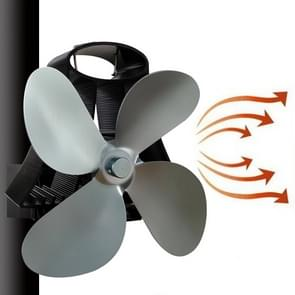 YL-105 4-Blade aluminium warmte aangedreven open haard kachel fan (grijs)