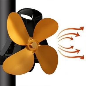 YL-105 4-Blade aluminium warmte aangedreven open haard kachel fan (goud)