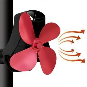 YL-105 4-Blade Aluminum Heat Powered Fireplace Stove Fan(Rose Red)