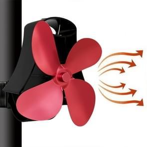 YL-105 4-Blade aluminium warmte aangedreven open haard kachel fan (Rose rood)