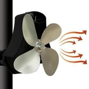 YL-105 4-Blade aluminium warmte aangedreven open haard kachel fan (zilver)