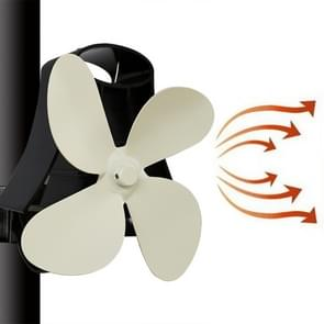 YL-105 4-Blade Aluminum Heat Powered Fireplace Stove Fan(White)