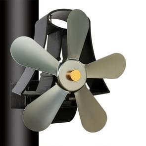 YL-106 5-Blade High Temperature Aluminum Heat Powered Fireplace Stove Fan(Grey)