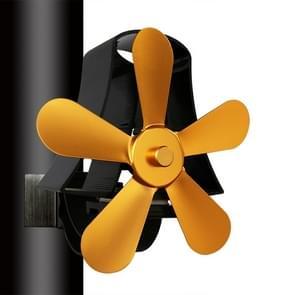 YL-106 5-Blade High Temperature Aluminum Heat Powered Fireplace Stove Fan(Gold)