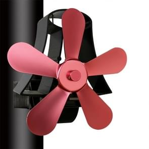 YL-106 5-Blade High Temperature Aluminum Heat Powered Fireplace Stove Fan(Rose Red)