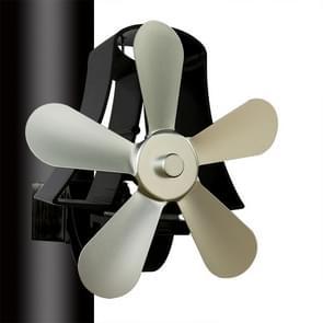 YL-106 5-Blade hoge temperatuur aluminium warmte aangedreven open haard kachel fan (zilver)