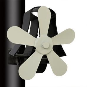 YL-106 5-Blade hoge temperatuur aluminium warmte aangedreven open haard kachel fan (wit)